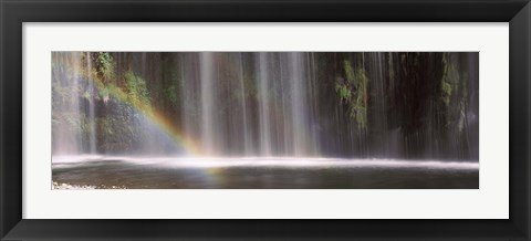 Framed Rainbow formed in front of waterfall in a forest, California, USA Print
