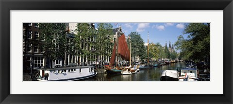 Framed Boats in a channel, Amsterdam, Netherlands Print