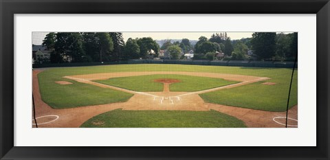 Framed Baseball diamond looked through the net, Doubleday Field, Cooperstown, Venango County, Pennsylvania, USA Print