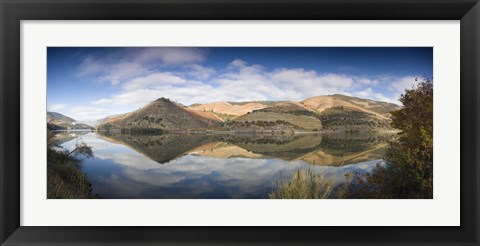 Framed Reflection of Vineyards in the River, Cima Corgo, Duoro River, Portugal Print