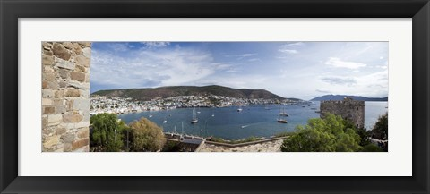 Framed View of a harbor from a castle, St Peter's Castle, Bodrum, Mugla Province, Aegean Region, Turkey Print