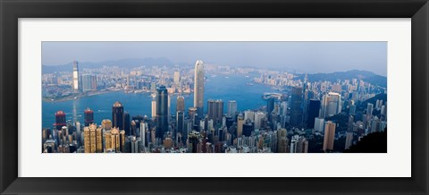 Framed Skyscrapers in a city, Victoria Harbour, Hong Kong, China Print