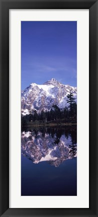 Framed Reflection of Mt Shuksan, Picture Lake, North Cascades National Park, Washington State (vertical) Print