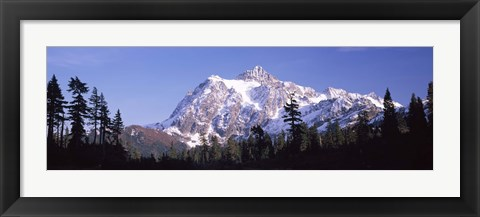 Framed Mountain range covered with snow, Mt Shuksan, Picture Lake, North Cascades National Park, Washington State, USA Print