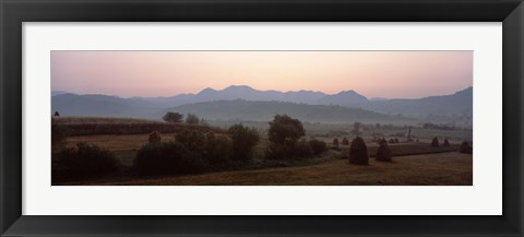 Framed Agricultural field with a mountain range in the background, Transylvania, Romania Print