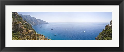 Framed Town at the coast, Positano, Amalfi Coast, Salerno, Campania, Italy Print