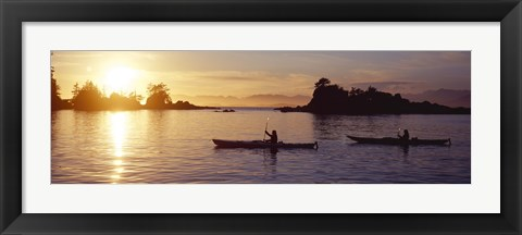 Framed Two people kayaking in the sea, Broken Islands, Pacific Rim National Park Reserve, British Columbia, Canada Print