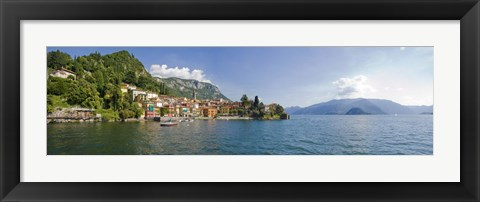 Framed Town at the lakeside, Lake Como, Como, Lombardy, Italy Print