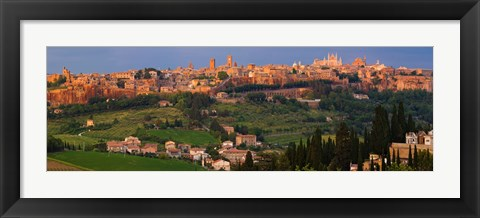 Framed High angle view of a cityscape, Orvieto, Umbria, Italy Print