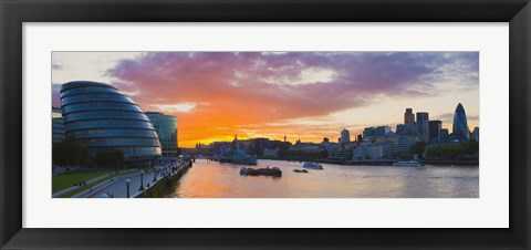 Framed City hall with office buildings at sunset, Thames River, London, England 2010 Print