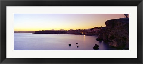 Framed Coastal city at dusk, Ras Um Sid, Sharm al-Sheikh, Sinai Peninsula, Egypt Print