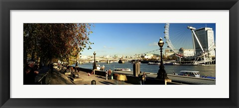 Framed Ferris wheel at the riverbank, Millennium Wheel, Thames River, London, England Print