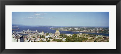 Framed High angle view of a cityscape, Chateau Frontenac Hotel, Quebec City, Quebec, Canada 2010 Print