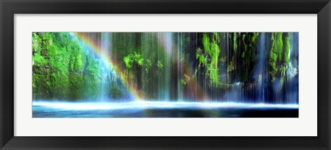 Framed Rainbow formed in front of a waterfall in a forest, Dunsmuir, Siskiyou County, California Print