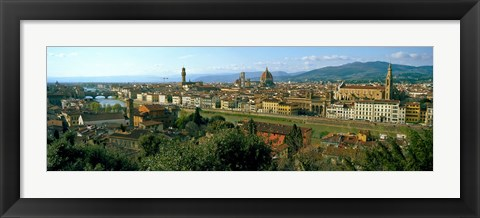 Framed Buildings in a city with Florence Cathedral in the background, San Niccolo, Florence, Tuscany, Italy Print