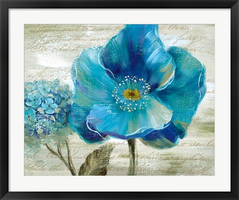 Framed Blue Poppy Poem II Print