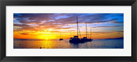Framed Silhouette of sailboats in the ocean at sunset, Tahiti, Society Islands, French Polynesia Print