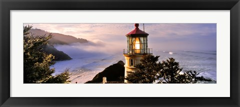 Framed Lighthouse at a coast, Heceta Head Lighthouse, Heceta Head, Lane County, Oregon (horizontal) Print
