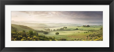 Framed Foggy field, Villa Belvedere, San Quirico d'Orcia, Val d'Orcia, Siena Province, Tuscany, Italy Print
