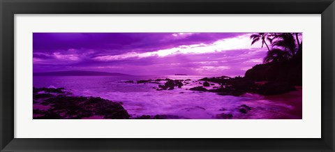 Framed Purple Sunset over the coast, Makena Beach, Maui, Hawaii Print