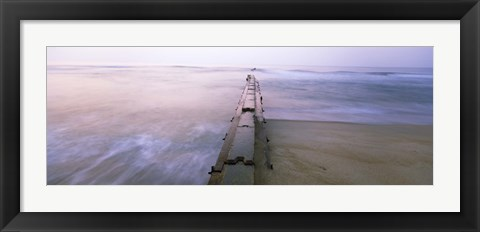 Framed Tide break on the beach at sunrise, Cape Hatteras National Seashore, North Carolina, USA Print