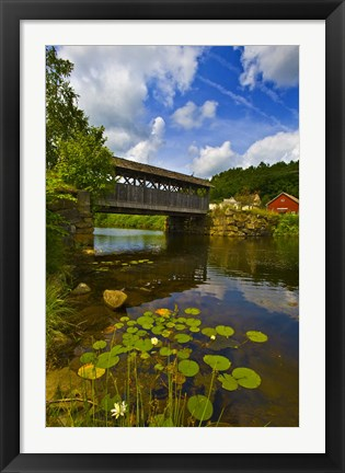 Framed Covered bridge across a river, Vermont, USA Print