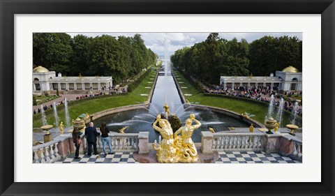 Framed Golden statue and fountain at Grand Cascade at Peterhof Grand Palace, St. Petersburg, Russia Print