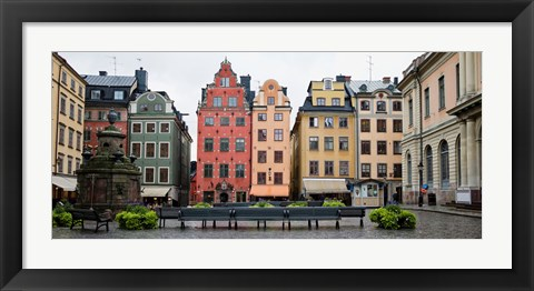 Framed Benches at a small public square, Stortorget, Gamla Stan, Stockholm, Sweden Print