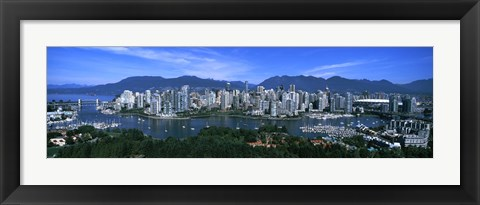 Framed Aerial view of a cityscape, Vancouver, British Columbia, Canada 2011 Print