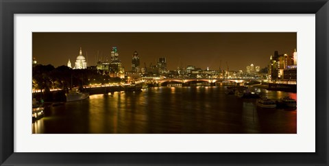 Framed View of Thames River from Waterloo Bridge at night, London, England Print