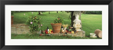 Framed Wine grapes and foods of Chianti Region of Tuscany at private estate, Italy Print