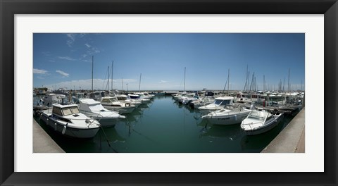 Framed Boats docked in the small harbor, Provence-Alpes-Cote d'Azur, France Print