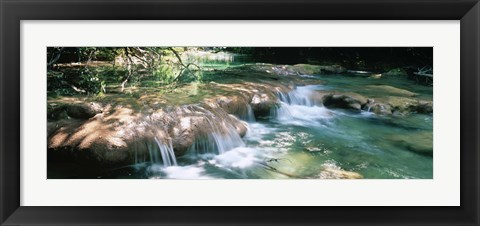 Framed River flowing in summer afternoon light, Siagnole River, Provence-Alpes-Cote d'Azur, France Print