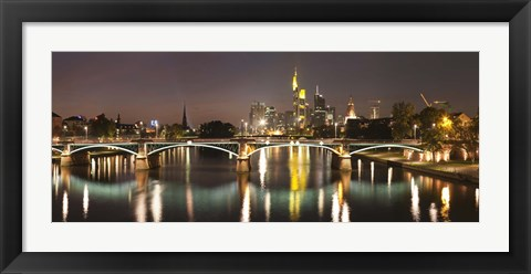 Framed Bridge across a river, Ignatz Bubis Bridge, Main River, Frankfurt, Hesse, Germany Print