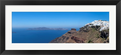 Framed Village on a hill, Imerovigli, Santorini, Cyclades Islands, Greece Print