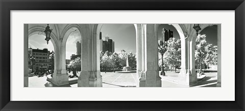 Framed Opera overlooking the financial district, Frankfurt, Hesse, Germany Print