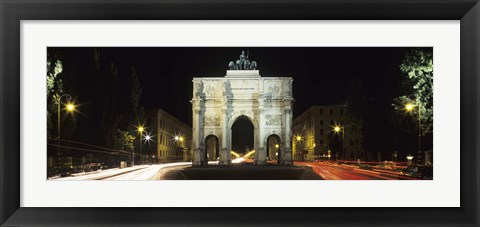 Framed Siegestor at Ludwigstrasse, Schwabing, Munich, Bavaria, Germany Print