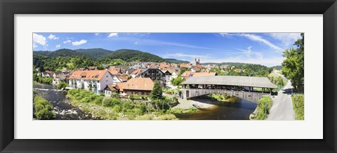 Framed Wooden bridge across a stream, Forbach, Murgtal Valley, Black Forest, Baden-Wurttemberg, Germany Print