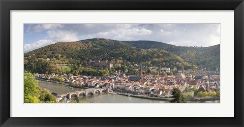 Framed Aerial view of a bridge across a river, Heidelberg, Baden-Wurttemberg, Germany Print