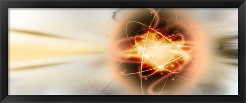 Framed Atom collision Print