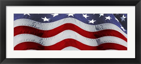 Framed Close-up of an American flag Print