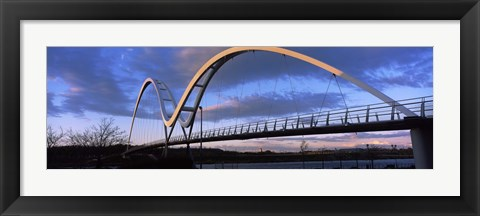Framed Modern bridge over a river, Infinity Bridge, River Tees, Stockton-On-Tees, Cleveland, England Print
