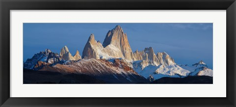 Framed Low angle view of mountains, Mt Fitzroy, Argentine Glaciers National Park, Argentina Print
