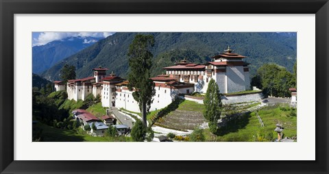 Framed High angle view of a fortress in the mountains, Trongsa Dzong, Trongsa, Bhutan Print