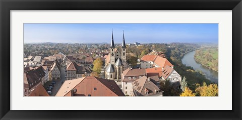 Framed Old town viewed from Blue Tower, Bad Wimpfen, Baden-Wurttemberg, Germany Print