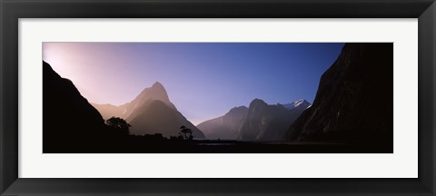 Framed Mountain range at water's edge, Milford Sound, Fiordland National Park, South Island, New Zealand Print