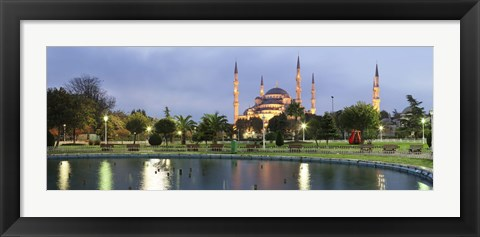 Framed Blue Mosque Lit Up at Dusk, Istanbul, Turkey Print