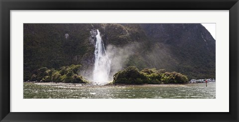 Framed Water falling from rocks, Milford Sound, Fiordland National Park, South Island, New Zealand Print