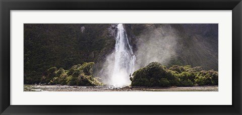 Framed Waterfall at Milford Sound, Fiordland National Park, South Island, New Zealand Print