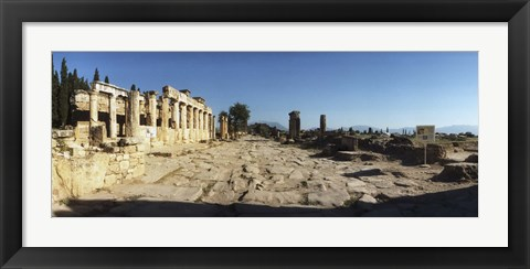 Framed Ruins of the Roman town of Hierapolis at Pamukkale, Anatolia, Central Anatolia Region, Turkey Print